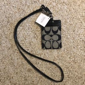 Coach Signature Lanyard ID Badge Holder NEW